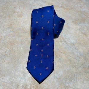 Vintage YSL Necktie Silk Blue Brown Diamond